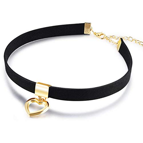 TIANHONGYAN Black Choker Necklaces for Women Gothic Choker Necklaces Gold Plated Open Heart Collar Punk Goth Fans Chain Necklace Mother Daughter Sister Choker Sexy Girlfriend Wife