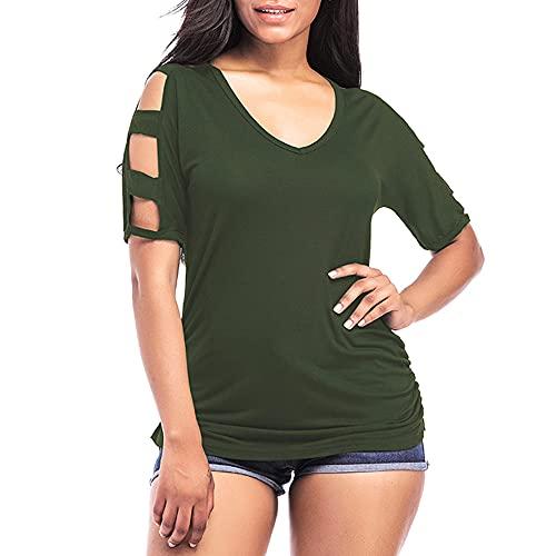 Camiseta Mujer Elegante con Cuello V Chic Sin Tirantes Manga Corta Color Sólido Mujer Blusa Verano Suelta Cómoda Tops Mujer Trabajo All-Match Mujer Tops F-Green S