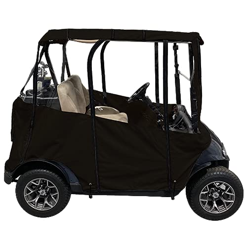 """Black -Premium Universal Golf Cart Cover with Travel Bag – DoorWorks Portable & Drivable 4-Sided – Fits EZGO TXT RXV & Club Car DS Precedent Onward - Black Golf Cart Cover (60"""" L X 44"""" W)"""