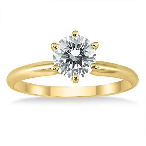 Anillo solitario de diamantes de 1 quilate con certificación AGS en oro amarillo de 14 quilates (color J-K, claridad I2-I3)