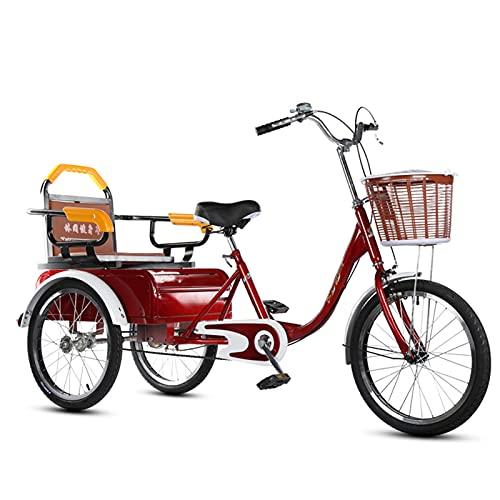 zyy Bicicleta de 1 Velocidades con 3 Ruedas 16 Pulgadas Triciclo Adulto Bicicleta de Triciclo Plegable para La Tercera Edad Mujeres Hombres para Compras Exterior Picnic Sports (Color : Red)