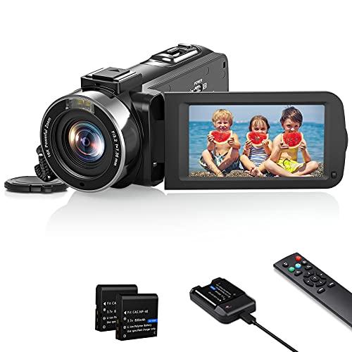 Videokamera Camcorder 1080P, Vlogging Kamera Recorder FHD 30FPS 36 MP für YouTube, IR Nachtsicht Camcorder 3.0 \'\' IPS-Bildschirm 16X Digital Zoom Digitalkamera mit Fernbedienung und Akkuladegerät