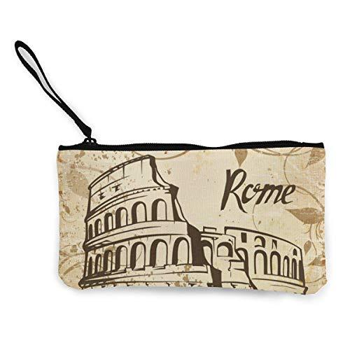 Rome Colosseum Hombres y Mujeres Lindo Monedero de Lona con Personalidad de Moda con Cremallera Bolsa de Maquillaje con Correa de Muñeca Bolsa de Teléfono de Llamada en Efectivo 8.5 X 4.5 Pulgadas