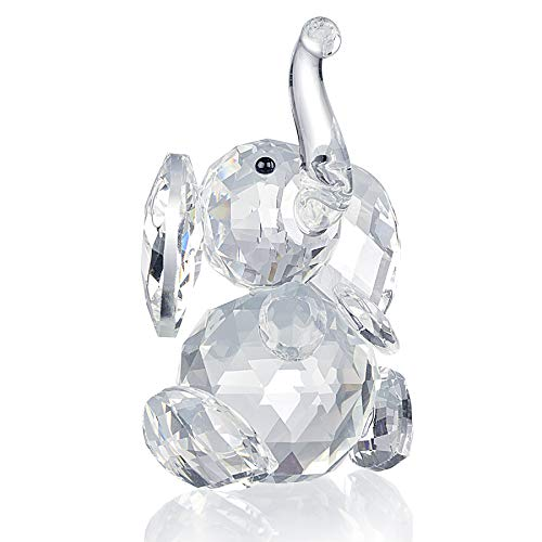 SHINY HANDLES Crystal Ornaments,Crystal Paperweight Elephant,Crystal Figurines,Crystal Glass Elephant Figurines Ornament for Crystal Animals Collector Fan,with Gift Box
