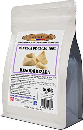 Manteca De Cacao 100% - Tipo Desodorizada - Bolsa 500g - Calidad Extra - Cacao Venezuela Delta