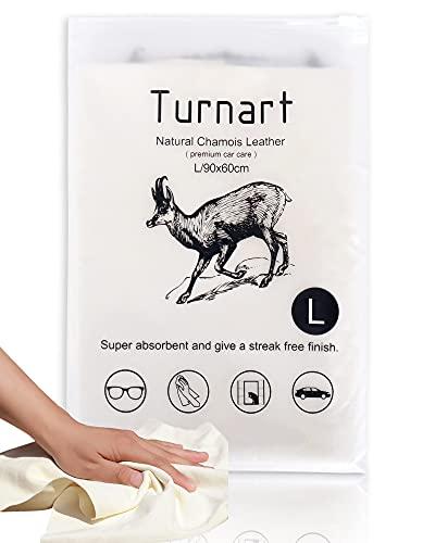 TURNART Auto Reinigungstuch Fensterleder 90x60 cm Autoleder Tücher aus echtem Leder (90 x 60 cm)