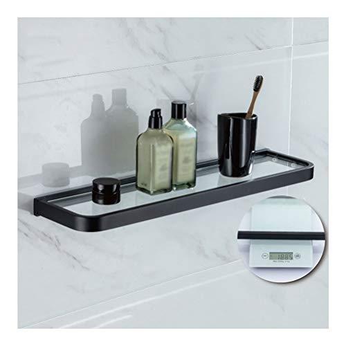 ZhanMaGS Estante de cristal para baño, estante de baño, cesta para montar en la pared, fácil de instalar, estante de ducha, estante ordenado, no requiere montaje, 1010 (tamaño: 55 cm)
