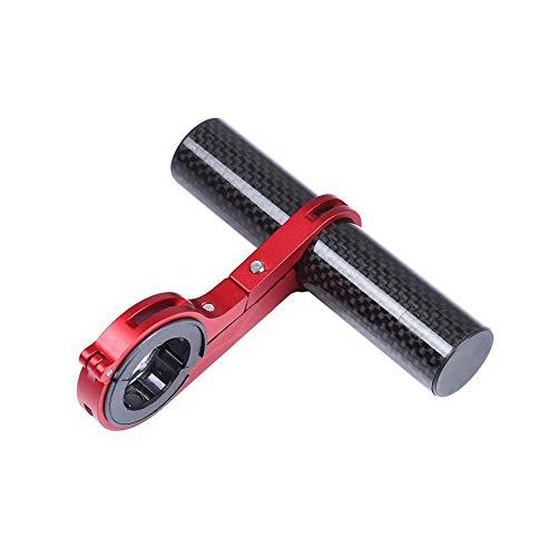 lujiaoshout Fahrradlenker Extender Fahrrad Verlängerung Rackrahmen Carbon-Faser-Halterung Halter Halterung für Taschenlampe Lampe Telefon - Rot
