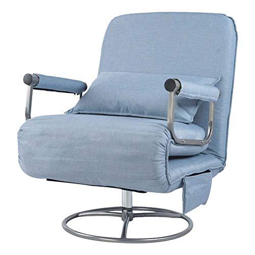 Wopohy Sofá cama plegable 2 en 1 con almohada para dormir individualmente, silla giratoria plegable sofá cama convertible con almohada y reposabrazos, sofá de salón para oficina en casa