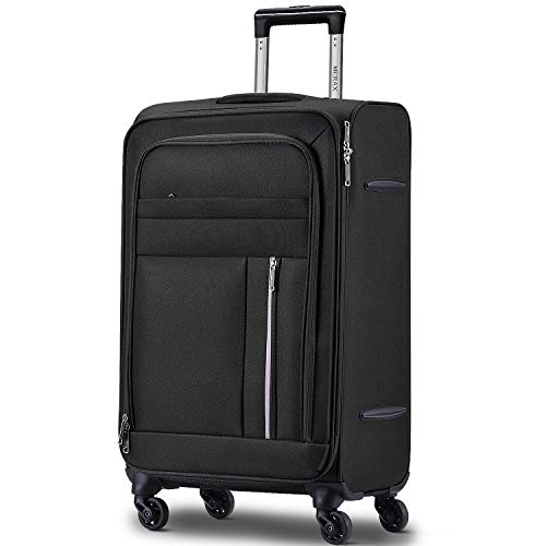 Merax Spinner Soft Shell Luggage Super Lightweight Suitcases 4 Wheels(20/24/28/SET of 3) (Medium (24 inch), Black)