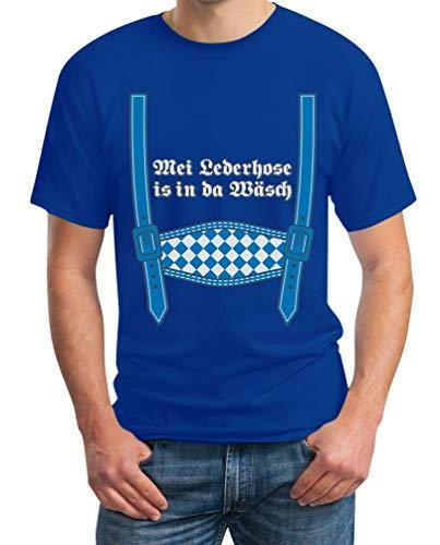 Oktoberfest Wiesn Kleidung MEI Lederhose is in da Wäsch Herren T-Shirt XL Blau