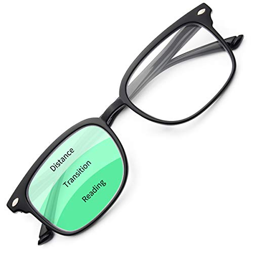 Gaoye Progressive Multifocal Reading Glasses Blue Light Blocking for Women Men,No Line Multifocus Readers with Spring Hinge (Light Black, 100)