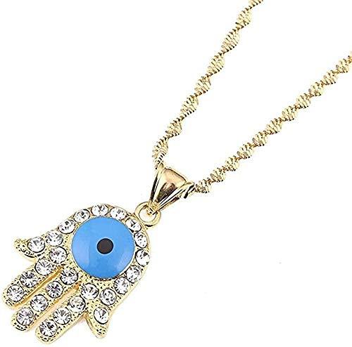 WYDSFWL Collar con Colgante de Ojo Azul de Moda para Mujer, Collar de joyería de Mano de Turquía con Ojos malvados, Collar de joyería de Mano de Fátima Hamsa