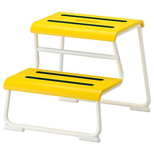LRZLZY Schritt Hocker, Gelb, Metall, 2 Stufen - Kinder aufsteigende Hocker Multifunktionale Familie Schuhe Hocker Blumenständer Stabilität und Sicherheit