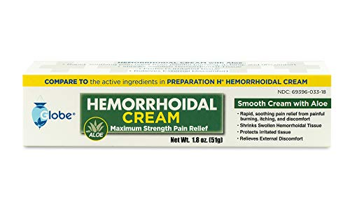 Globe Hemorrhoid Cream - Numbing Hemorrhoid Medicine with Natural Aloe - Relief from Piles, Itching, Burning, Discomfort, & More - 1.8oz Ointment Tube - Compare the Active Ingredients to Preparation H