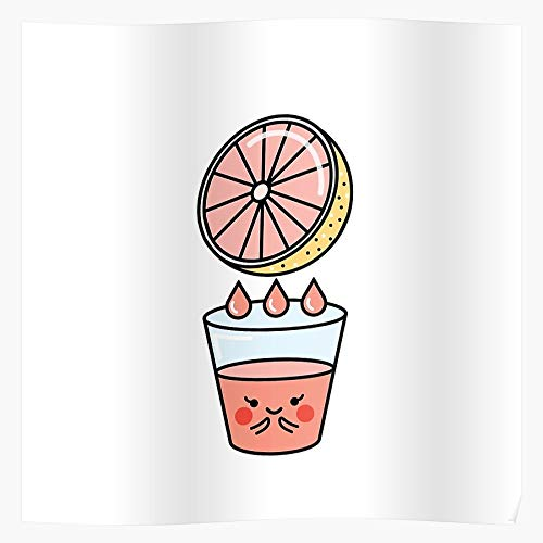 Tranglunar Japanese Day Pink Grapefruit Fruit Valentines Puns Kawaii Cute Impressive Posters for Room Decoration Printed with The Latest Modern Technology on semi-Glossy Paper Background