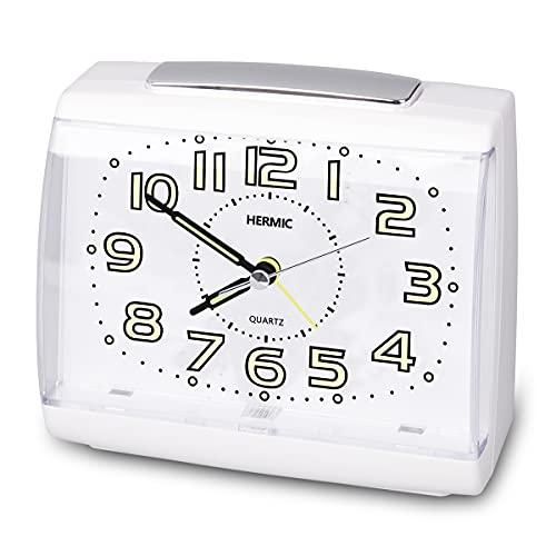 HERMIC Reloj Despertador Analógico Sin Tictac Reloj Despertador Silencioso con Luz Nocturna y Función de Repetición Agujas Snooze iluminadas Viaje Despertador con a Pilas Fácil de Leer