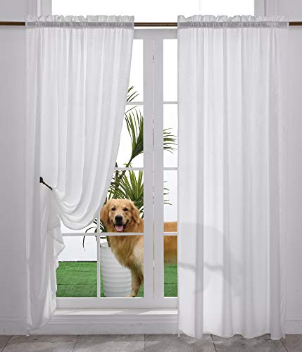 Yancorp Non-See-Through Velvet Opaque Privacy Curtains 2 Panels Drapes for Living Room Bedroom Doorway Divider Semi Sheer Curtain Kithen Window Panels (White, W52 xL84)