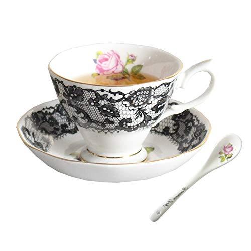 HYOUH Tassen- & Untertassensets 180ml Creative Black Lace Rosenmuster Keramik Bone China Kaffeetasse mit Untertasse Kit   Wasser-Milch-Tee-Becher Drinkware mit Löffel- Schwarzem