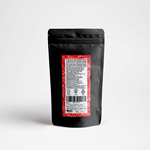 Tè rosso. Passione turca. Miscela. Con Tè Pu Erh (Tè rosso), Cannella (7%), Mela (11%), Arancia (9%). Antiossidante. Diuretico (100 Gr)