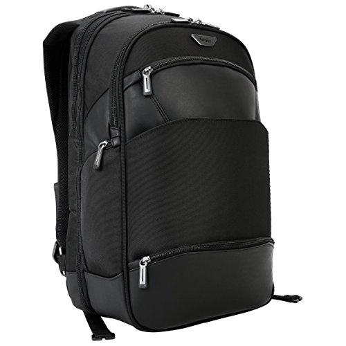 Targus Mobile-VIP Reise- und TSA Checkpoint-freundlicher Rucksack für Business Professional Reisen mit strapazierfähigem wetterfestem Trolleygurt, Schutzschlinge für 15,6 Zoll Laptop, schwarz (PSB862)