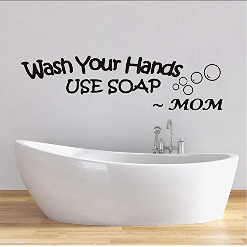 Wandaufkleber Waschen Sie Ihre Hand Mutter Liebe Verwenden Seife Wandaufkleber Für Familie Tipps Wc Vinyl Hinweise Dekoration Aufkleber Wohnkultur