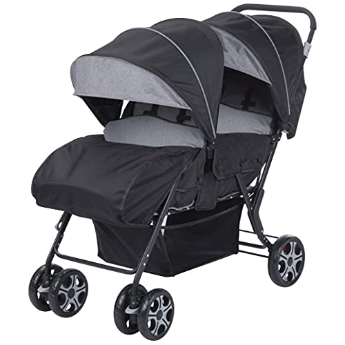 Safety 1st Teamy Double, Light and Compact, Twin Stroller from birth/6m+ to 22kg, Black Chic