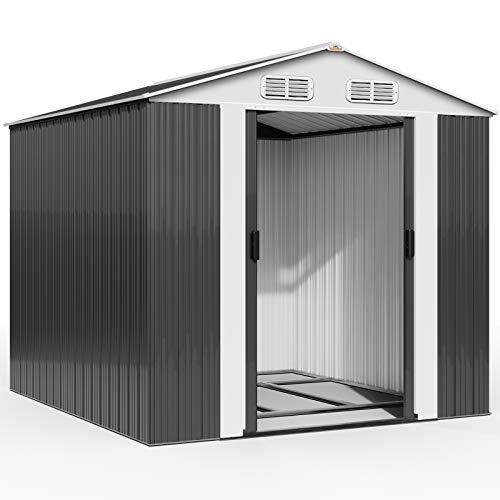 Deuba XXXL Metall Gerätehaus 14,7m³ mit Fundament 312x257x177,5cm Schiebetür Anthrazit Geräteschuppen Gartenhaus