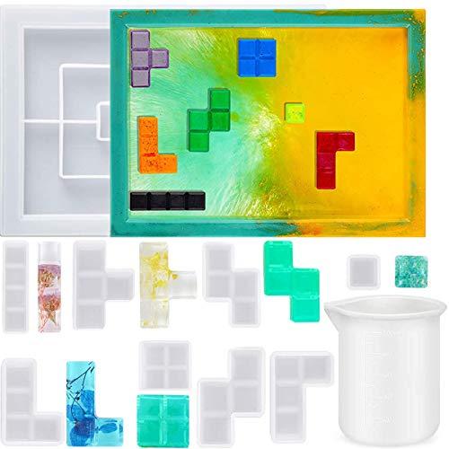 Acmerota Stampi per vassoio in resina da 10 pezzi Stampo in silicone Tetris Set per colata epossidica con stampo per vassoio, misurino in silicone da 100 ml, 8 pezzi Tetris, per artigianato in resina