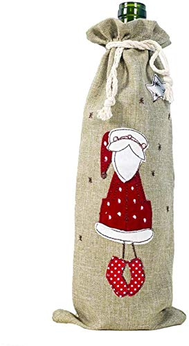 Sacs de bouteille de vin de Noël, cordon de serrage en lin, couverture de bouteille de vin rouge, sac de Champagne, sacs-cadeaux de Noël pour le dîner, décoration de table de fête de Noël Angles