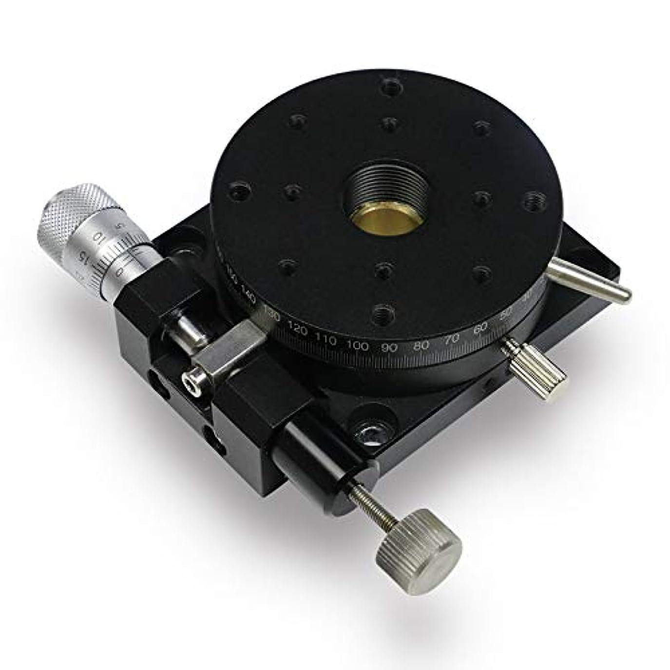 思いやり細部オーブンHuanyu R軸回転ステージ 360°精密手動 微調整用 回転ステージ マイクロメーター 85mmx85mm RPG85 (φ60mm)
