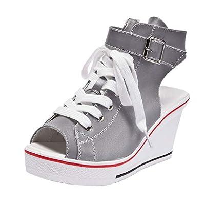 RAINED-Women Wedges Shoes High Pumps Casual Illuminate Shoes Peep Toe Platform Shoes Adjustable Ankle Strap Sandals