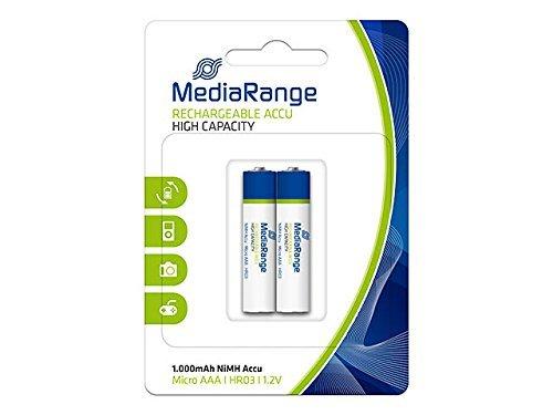 MediaRange MRBAT122 Micro Akku HR03 2 Stück NiMH 1, 2 Volt AAA Blau/Weiß