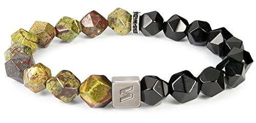 SENLLY Pulsera de Piedras Preciosas con 10mm Natural Jaspe Sangre de Dragón y Obsidiana Negra, Energía Protección Curación Chakra Estiramiento Pulsera para Hombres y Mujeres