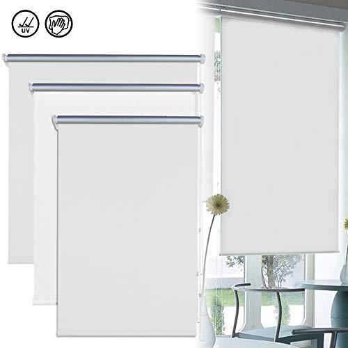 Froadp Estor Enrollable Cortinas enrollables con apagón térmico sin Perforaciones Trimmable para Windows (100 x 160 cm, Blanco)