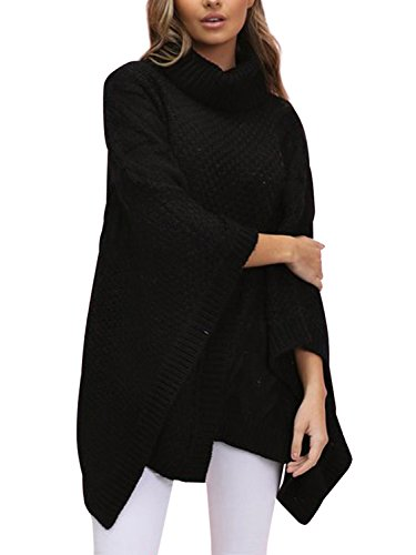 Flat knitted,thick material,slight stretchy Turtleneck design,fashion batwing sleeve Losse style,irregular hem,relaxed and cozy wear,oversized fit Perfect match with leggings,skinny jeans,pants,etc Soft and comfortable wear,keep warm from cold weathe...