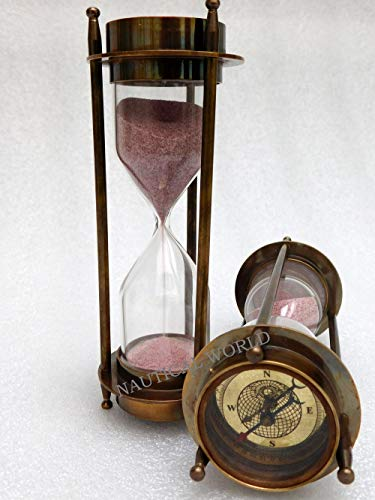 Temporizador de arena con brújula, de latón, de 5 minutos