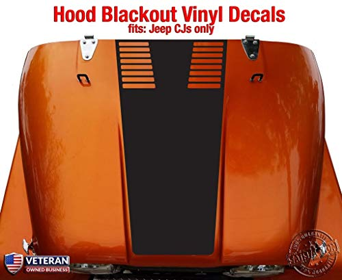 Tower Decals Hood Blackout with Vents Vinyl Graphic Decal Fits Jeep CJ Gloss Black