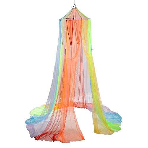Constructive Playthings Rainbow Retreat Canopy for Kids, Hanging Multi-Colored Mesh Net for Playroom, Classroom, or Bedroom
