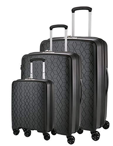 ABISTAB Verage Diamond 4-Zwillingsrollen Koffer-Set 3 teilig, TSA-Schloss, erweiterbar, PP Hartschale Trolley-Set S M L mit Handgepäck, S-55cm M-69cm, L-78cm, Schwarz