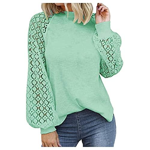 WAo Las mujeres de moda blusas casuales sueltas Tops de color sólido camisa jersey hueco de encaje manga larga cuello redondo camisas, verde, M