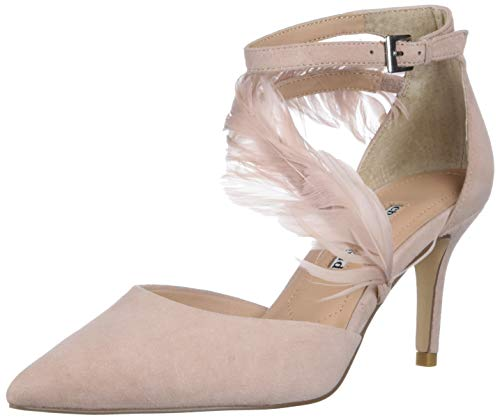 CHARLES DAVID Women's Closed Toe Suede Dress Shoe with Feather Detailed Strap Pump, Plat Pink, 8.5