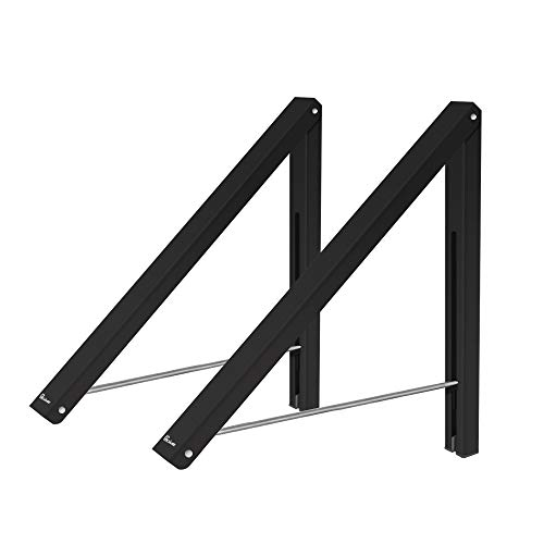 Anjuer Wall Mounted Drying Rack Clothes Hanger Folding Wall Coat Racks Aluminum Home Storage Organiser Space Savers Black