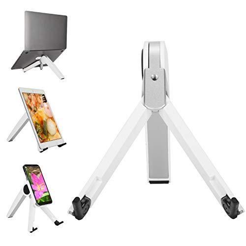 Hztyyier Soporte Vertical 3 en 1 con Ajuste de Altura de 6 Niveles para Tableta, computadora portátil, teléfono Inteligente, Soporte de Escritorio portátil Plegable
