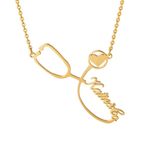Gepersonaliseerde stethoscoop ketting met naam, aangepaste mooie hart ketting sierlijke sieraden geschenken verpleegster arts medisch student afgestudeerd cadeau