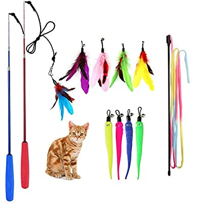 M JJYPET Retractable Cat Wand Toys,12 Packs Interactive Cat Feather Toy,9 Assorted Teaser Refills with Bell for Cat,Kitten by M JJYPet