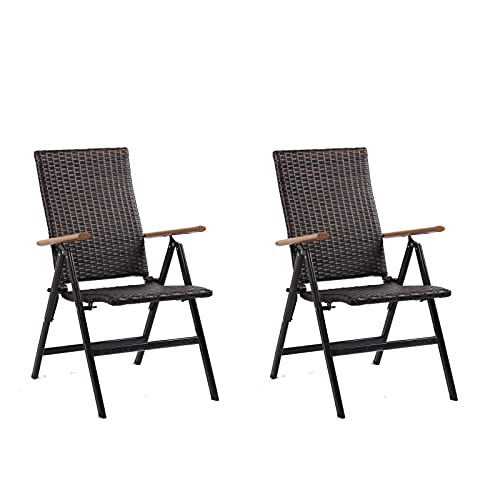 2 x Rattan Garden Dining Chairs With 7 Reclining Positions Outdoor Foldable Picnic Chair For Beach, Park, Picnic (Brown)