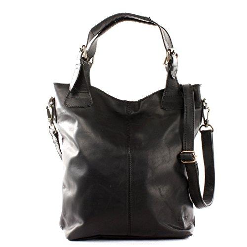 LECONI Henkeltasche Echtleder Vintage-Look Damentasche für Shopping Handtasche für Damen Leder Shopper mit Trageriemen Beuteltasche für die Arbeit, Büro oder Alltag 34x35x10cm schwarz LE0054-wax