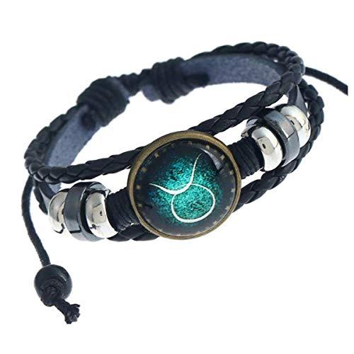Longyangqk 12 Constelaciones del Signo del Zodiaco Logo Charms Bracelet (Taurus)