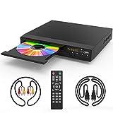 Jin hoo DVDプレーヤー1080Pサポート DVD/CDディスクプレーヤー 再生専用モデル AVケーブル HDMIケーブル付き 音楽再生 ブラック CPRM対応 リージョン フリーリモコン 録画 番組 テレビ 地上デジタル放送 テレビ/プロジェクター接続可能